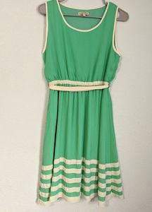 Altar'd State Green Cream Stripe Belted Dress